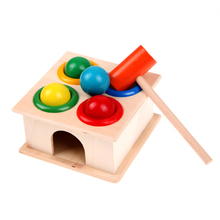 Colorful Baby Knocking Box Toy Wood Hammering Ball Hammer Box Children Funny Early Learning Educational Toys Baby Toys