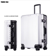 TRAVEL TALE 20 24 26 29 inch spinner aluminum suitcase black silver rolling luggage aluminium luggage case
