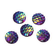 MJARTORIA Mermaid Scale Resin Cabochon 10mm 3D Fish Scale Cabochon Dome Embellishment Mermaid Accessories For Bracelets 10PCs