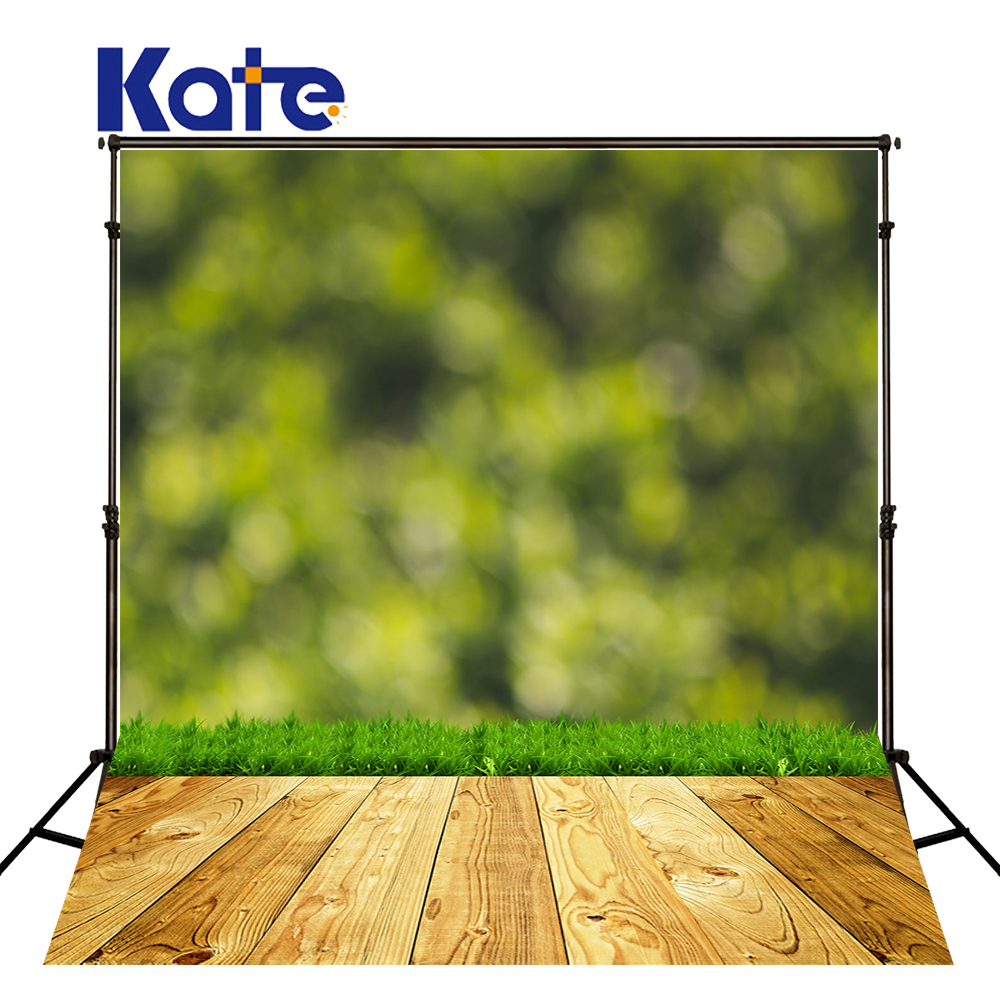 KATE Photography Background Green Grass Backdrops Bokeh Wall Backdrop Wooden Floor Backdrop Photography Background Kids Studio<br>