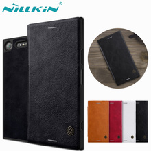 Nilkin for Sony XZ1 Case Nillkin Qin Luxury PU Flip Wallet Leather Back Phone Cover for Sony Xperia XZ1 with Retail Package(China)