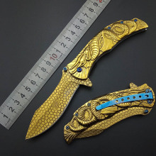 Gold Fly Dragon Tactical knife Wilderness survival tools All steel Outdoor knives Hiking Camping Hunting knives blade nice work(China)