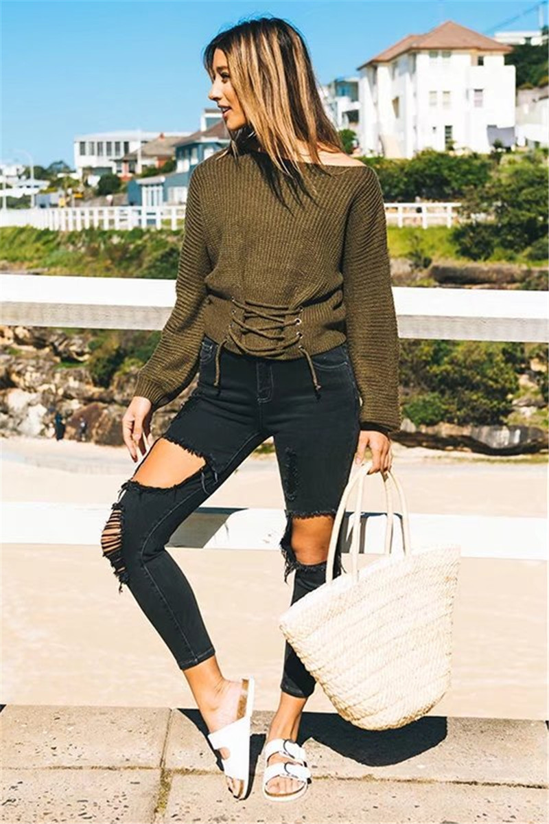 Autumn Lace Up Sweater, Women's Knitted Solid Jumper, Adjust Waist Bandage Sweater 5