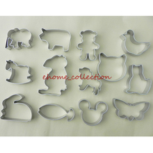 13 Different Kinds Lovely Animal Cat Rabbit Mickey Butterfly Bear Stainless Steel Cutter Mold Cookie Biscuit Cake Decor Tools