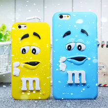 Hot 3D Silicon phone cases cover For iPhone 7 7plus 4 4s 5 5s 6 6s plus 4.7 MM Chocolate Candy Rainbow Bean mobile phone bag