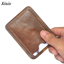 New brand Slim Credit Card Holder for cards Mini Wallet man women Vintage business ID Case Purse Bag Pouch brown(China)