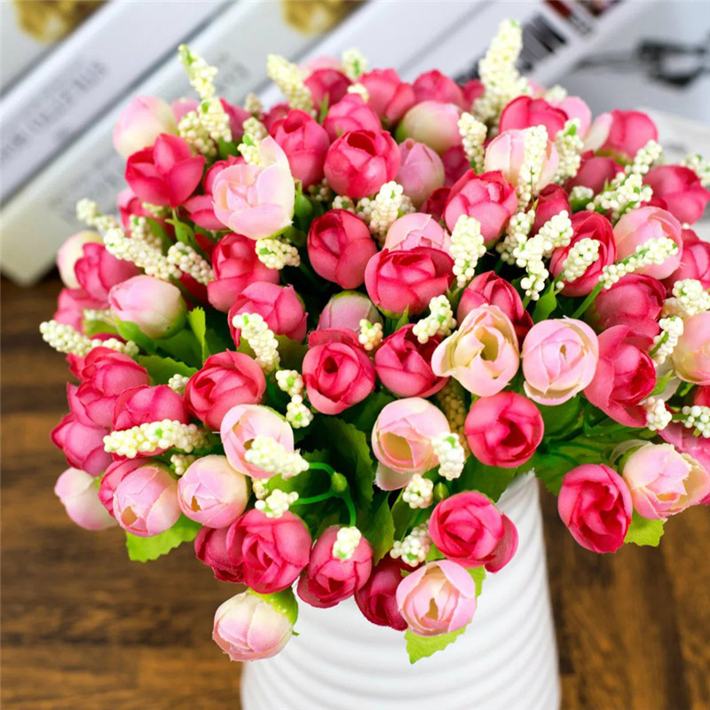15 Heads QQ Rose Buds Artificial Flowers Artificial Simulation Flowers Home Party Wedding Decoration Plant Potted PlantsWA522P50(China (Mainland))