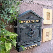 Dark Green Large Cast Iron Wall Mailbox with Newspaper Zeitung Holder Cast Aluminum Wall Mount Mailbox Mail Box P.O box(China)