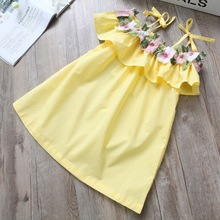 New lovley girls dress flower summer shouldess elegant party dress celebration baby girl clothes for kids and children clothing