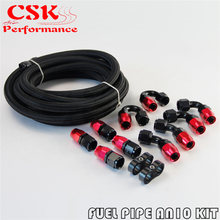 AN10 5M Stainless Steel Nylon Braided Oil Fuel Line + 10AN Hose End Fittings
