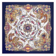 New Style Autumn Winter Womens Scarfs Fashionable Square Scarves 130 Cm * 130 Cm Silk Scarf Rotating The Trojans Ladies Scarves