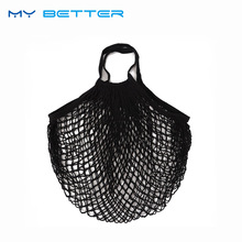 1PC Environmental Protection Reusable Fruit Shopping Bag String Grocery Shopper Cotton Tote Mesh Woven Net Bag(China)