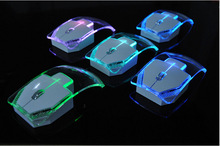 Transparent & lighting 2.4GHz Wireless Computer Mouse Creative Mini PC Mice with 1000dpi for Home and Office Use