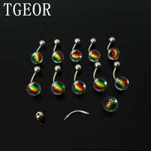 wholesale 100pcs 1.4*10*5/8mm mixed colors inlay rasta reggae balls UV acrylic piercing navel belly button ring free shipping