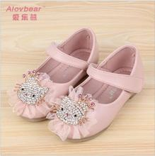 girls Shoes 2017 Spring Rhinestone Hello kitty Children Casual Shoes Single Female Leather Fashion Princess Flat Sandals