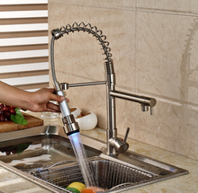 High Quality LED Kitchen Sink Taps Two Spray With Hot & Cold Water Faucet Nickel Deck Mount
