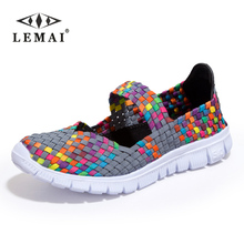 LEMAI 2017 summer breathable men fashion flats Shoes light flat loafer shoes Cheap flats weave shoes for lady 599(China)