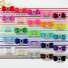 "25pcs/lot  2"" Tiny Felt Bow Circular Hollow Out Rhinestone on 1/8"" Skinny Elastic Girls And Kids Headband Hairbands"
