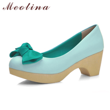 Meotina Shoes Women Pumps Thick High Heels Platform High Heels Ladies Blue Shoes Bow Casual Shoes Beige Pink Plus Size 34-43(China)