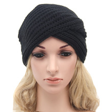 Hot Knit Hat Women's Baggy Beanie Winter Warm Knitted hoods board wool hat cross - caps Crochet female Knitted Cap Skullies H08