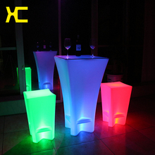 Plastic LED Lighted Up Commercial Furniture Illuminated Bar Furniture Set Outdoor Event Decor Remote Control Bar Cocktail Table