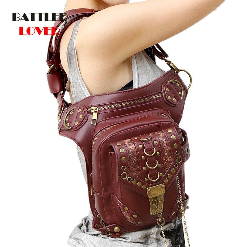 Carteras Mujer Leather Steam Punk Gothic Shoulder Bag Men Womens PU Leather Waist Bag Packs Unisex Messenger Bag Fashion Leg Bag