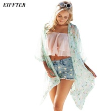 EIFFTER HOT SALE! 2016 Summer Women Floral Print Kimono OPEN Chiffon Loose Beach Tops Blouse Jacket Cape ZM0063