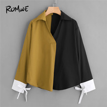 Buy ROMWE Color Block Contrast Cuff Tie Blouse V Neck Long Sleeve Casual Blouse 2018 New Fashion Colorblock Women Clothing for $13.99 in AliExpress store