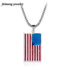 American Flag USA Patriot Freedom Stars And Stripes Dog Tag Pendant Necklace Gift For Men Jewelry 3 Color Fashion Accessories(China)