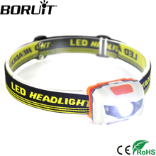 Boruit 600Lm 3 LED New Mini Headlamp 4 Mode Waterproof Head Torch Super Bright Headlight For Hunting With One Year Warranty