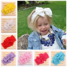 10 pcs/lot , Lace Big Bow Headband Headwrap, Lace Girls Headband, Big Lace Bow Shabby Chic Headband