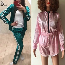Splicing Side Stripe Deporte Satin Silk Kitten Soft Outdoor Bomber Down Jacket + Tracksuits Pants,2 Piece Short Coat Suit Sets