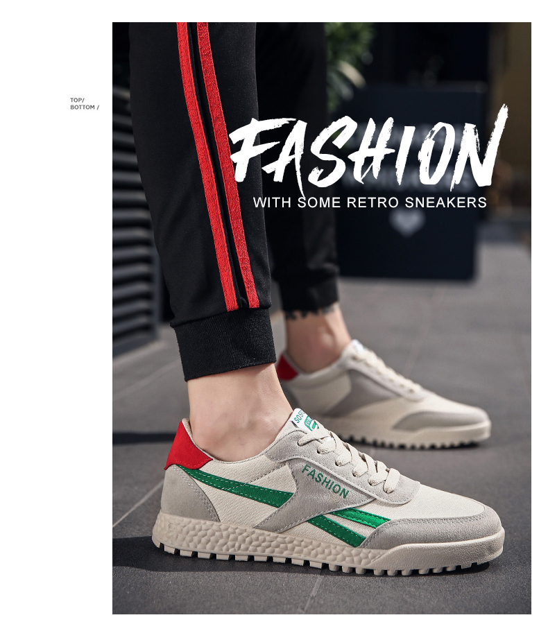 New Fashion Casual Flat Vulcanize Shoes For Men Breathable Lace-up Shoes Footwear Striped Shoes Flax And Cattle Cross Stitching 21 Online shopping Bangladesh