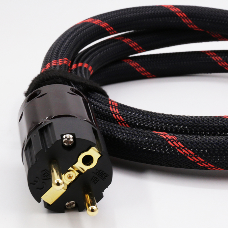 DIY Hi-End   1.5M X SA-OF8N  Hifi Audio Power Cable Cord with EU/US rhodium /Gold plated  power Plugs<br>