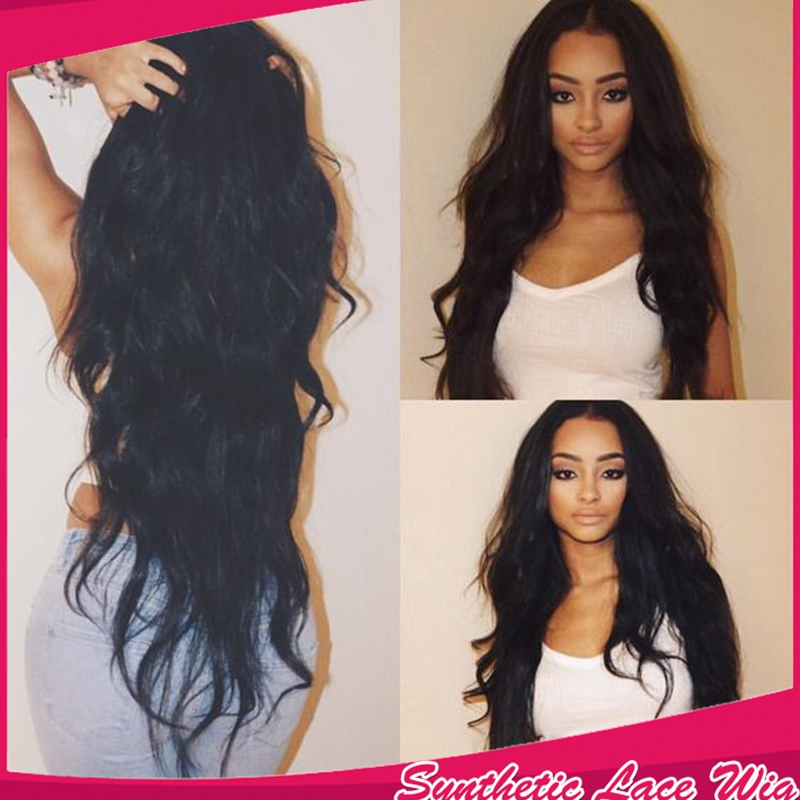 Free shipping color black natural wave heat resistant body wave synthetic lace front wig synthetic hair in stock for black women<br><br>Aliexpress