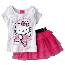 Hello Kitty Dress set Toddler Girl Summer Birthday Princess Girls Clothes Children Clothing Set baby girl clothes girls dress