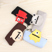 Best Deal Cute Cartoon Canvas Pencil Bag Stationery Pencil Bag Kawaii pouch office school supplies 1PC(China)