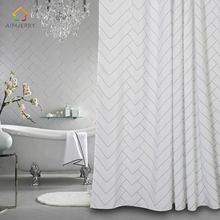 Aimjerry White and Black bathtub Bathroom Fabric Shower Curtain 71Wx71H inch Waterproof and Mildewproof With 12 Hooks 036(China)