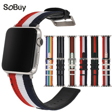Buy buy Genuine leather nylon strap apple watch iwatch sport series 1/2/3 42mm band S1 S2 skin Link bracelet 38mm Wrist belt for $9.20 in AliExpress store