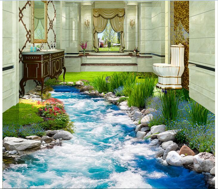 3d pvc flooring custom mural Self adhesive waterproof  floor Grass river water painting picture photo wallpaper for walls 3d<br>