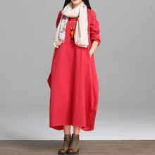 autumn spring long full dress fluid plus size clothing national trend loose long-sleeve comfortable fashion one-piece dress