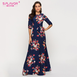 Женское длинное платье-трапеция S.FLAVOR, элегантное винтажное темно-синее платье макси с цветочным принтом, повседневное и праздничное просто...