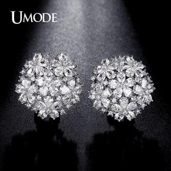 Umode 4.5mm x 3mm pear cut cluster cubic zirconia rodio plateado francés clip de aretes de joyería para las mujeres brincos ue0188b