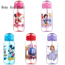 Momy and Angel 400ml Disne Minnie/Mickey Mouse Kid Drinking Bottle Feeding Straw Children Cup Feeding Baby Bottles Water Bottle(China)