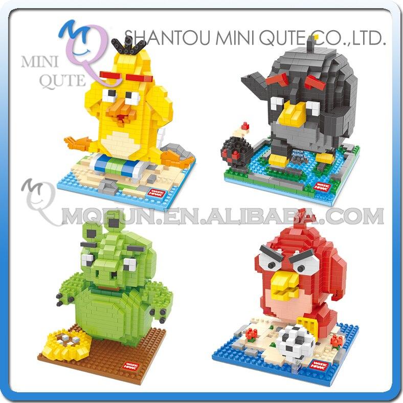 Wholesales 96 pcs/lot Mix 4 models Mini Qute Kawaii WISE HAWK phone game bird animal building blocks model educational toy<br><br>Aliexpress