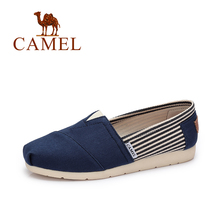 Camel 2017 Spring Summer Women's Casual Shoes New Stripes Fight Color Flat Canvas Shoes Simple Footwear Shoes A71339603(China)