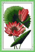 Joy sunday floral style Exotic lotus simple cross stitch flowers pattern kits printable for beginners