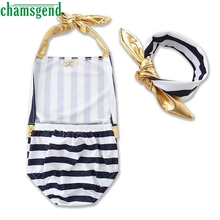 CHAMSGEND Best seller drop ship Toddler Kids Girl Striped Bodysuits Swimsuit Swimwear Bathing Suit Clothes Set S30