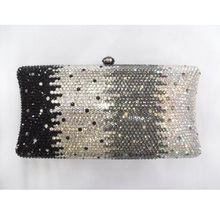 L7701 Crystal Black/Clear/Grey/WhiteAB in gradual change effect Bridal Party Night Metal Evening purse clutch bag handbag case b