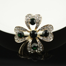 Fashionable Crystal  Four Leaf Clover Brooch Pin Gold And Silver Color Garment Accessories Birthday Gift